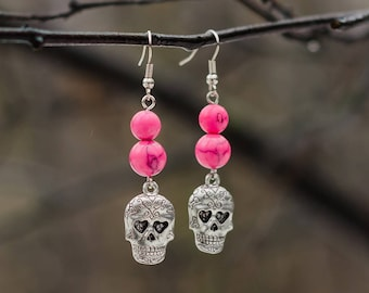 Pink Skull Earrings - Day Of The Dead Jewelry - Pastel Goth Gift - Gothic Earrings - Sugar Skull Earrings - Gift For Goth - For Goth Wedding