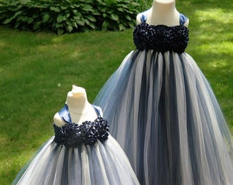 1604c22c97a Navy Blue and Silver shimmer Tutu Dress  Blue tutu dress for Girls  Navy  Blue Tulle Dress  Blue and Gray Flower Girl dress for girls