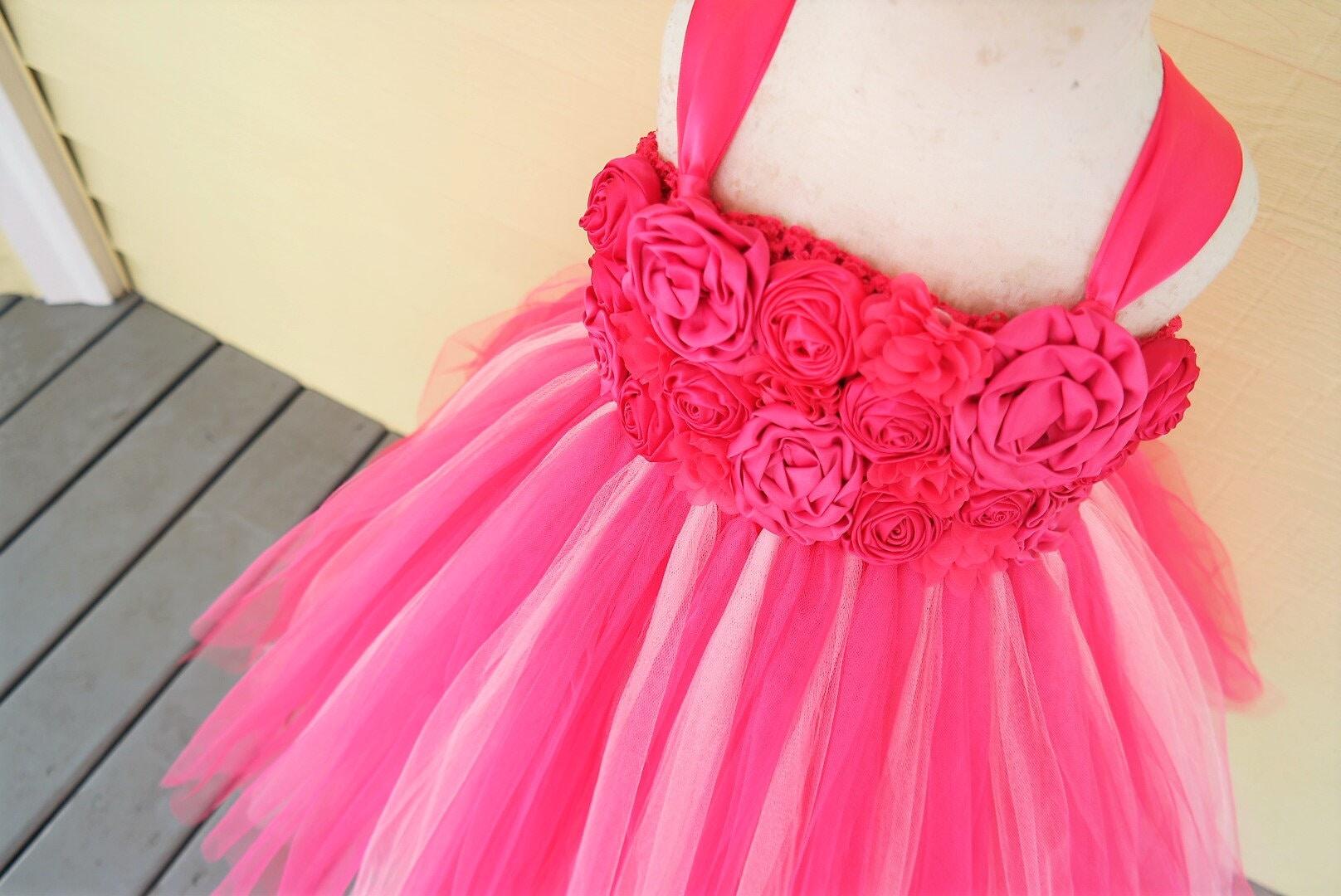 d286585397 Girls pink dress  Girl s Fancy pink dress  Pink flower girl Dress  Hot Pink  dress  Girl s Pink Birthday dress