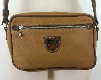 b7eae8b889 Roots Canada Purse Shoulder Bag Two Tone Brown Leather Adjustable Length