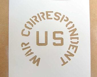 Helmet Stencil Template USA Army War Correspondent WW2 US WWII M1 M2 M1C not Decal