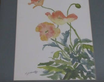 Original Watercolor of orange peach colored Poppies flower unframed with an oriental flare