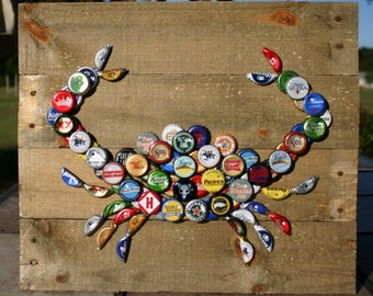 Crab Wall Art with Mixed Bottle Caps on Pallet Wood
