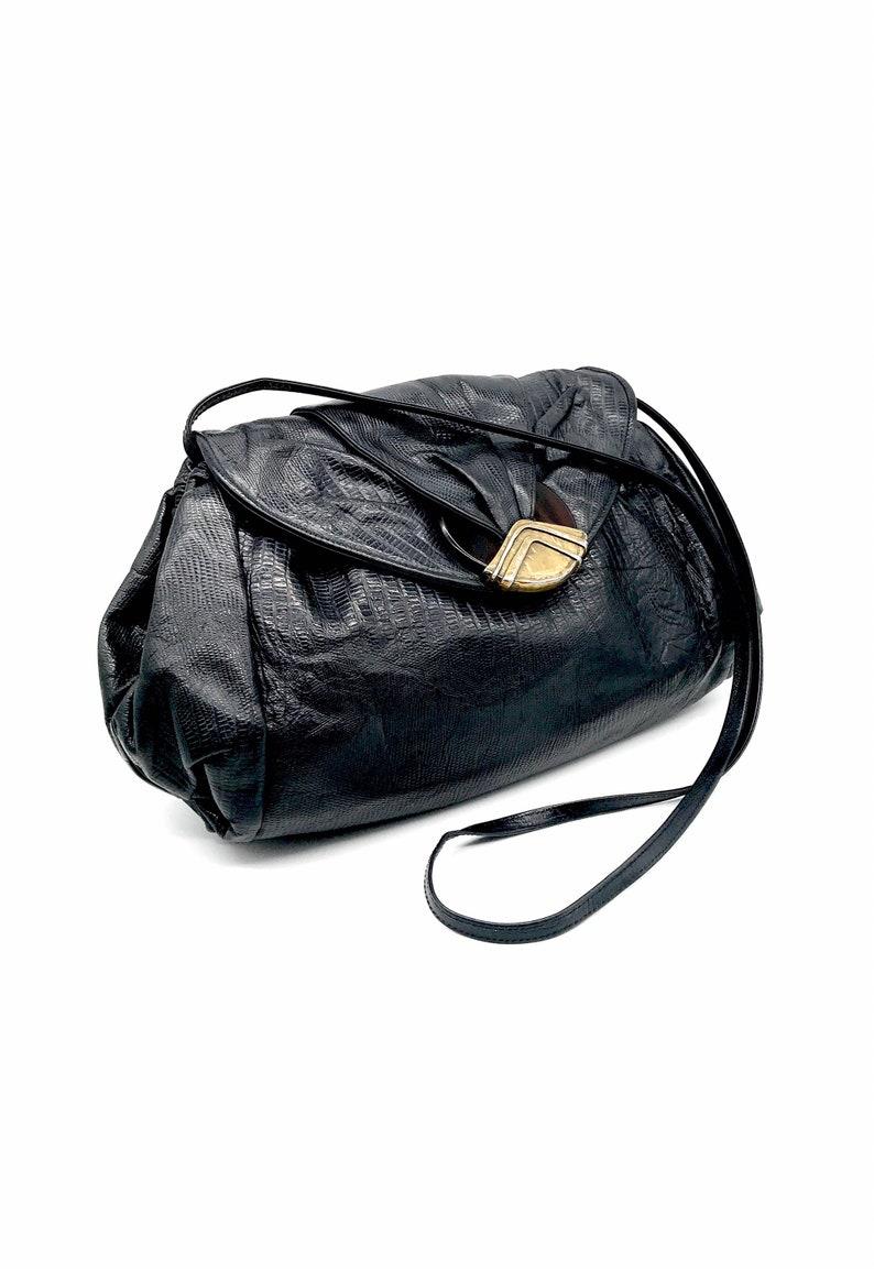 Faux croc genuine leather black handbag crossbody shoulder or convertible clutch by Sharif 80s 90s large size