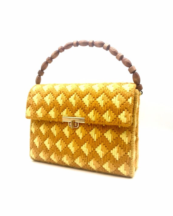 60s 70s handbag orange yellow wood bead handle han