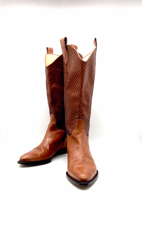 Joan an David couture boots 9m British tan brown 9