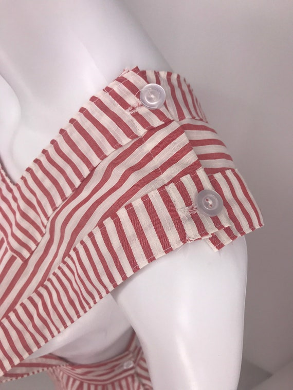 40s 50's candy striper dress red and white pinafo… - image 2