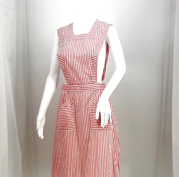 40s 50's candy striper dress red and white pinafo… - image 1
