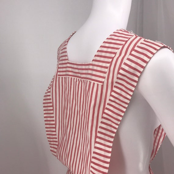 40s 50's candy striper dress red and white pinafo… - image 5