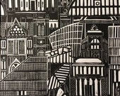 Manchester print, we love manchester,architecture print, Manchester skyline, Manchester lino print