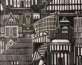 Manchester print, we love manchester,architecture print, Manchester skyline, Manchester lino print