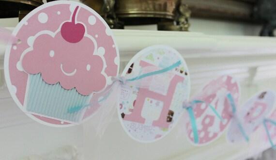 cupcake birthday banner 1st birthday banner cupcake party etsy