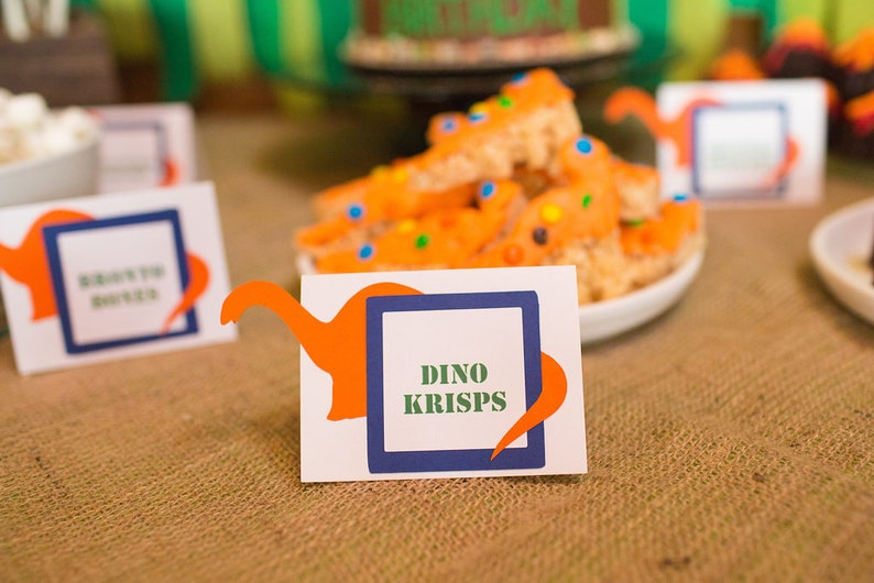 Dinosaur Party Food Labels Place Cards Jurassic