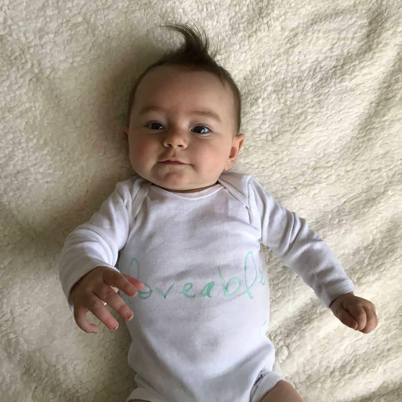 Long Sleeve Onesie Infant Onesie Onesie Neutral 3-6 month White Onesie with Mint Lettering