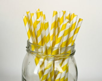 Yellow Striped Paper Straws with FREE DIY tags - Party Supplies - Drinking Straws - Paper Straws