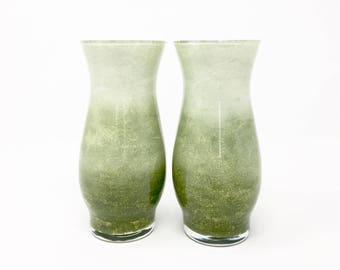Olive Green Vases // Set of 2 // Hand Painted Glass