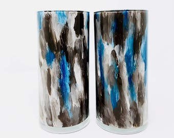 Brown and Blue Vases // Set of 2 // Hand Painted Glass
