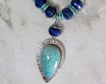 Amazonite Lapis and Turquoise Pendant Necklace, Blue Green Beaded Statement Necklace, Silversmith Jewelry