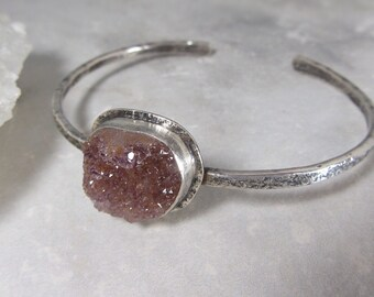 Druzy Quartz Cuff Bracelet, Choose Your Own Gemstone, Raw Crystal Jewelry, Sparkly Gemstone Sterling Silver Metalsmith Bracelet