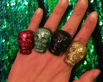 Sparkly skull ring. Day of the dead