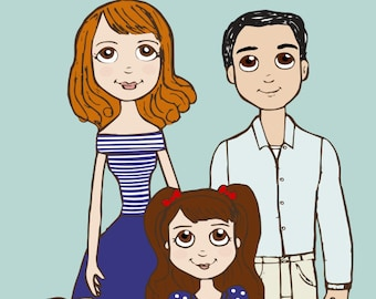Family Portrait Illustration - Custom
