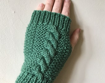 Women's Hand Warmers - Green Rustic Cable