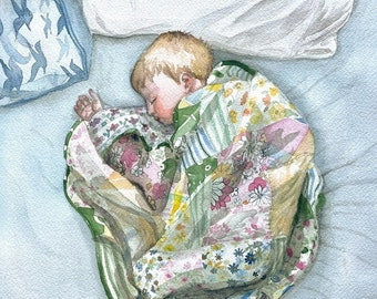 Watercolor painting little boy wrapped in handmade quilt, nursery art