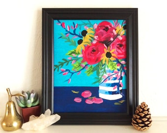 Floral Bouquet Painting Print 8 x 10, Navy and Fushia Flower Art