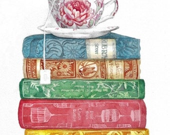 Watercolor stack of vintage books and tea cup, Book Art, books and tea