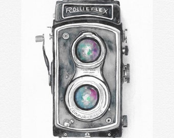 Watercolor Vintage Camera Painting Print, Rollieflex Camera Art, Man Cave Art Decor, boho wall art