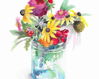 Watercolor Summer Bouquet in a blue Mason Jar, Sunflower Watercolor, Floral Art, Nature Art, Wall Art, boho decor, eclectic decor, Botanical