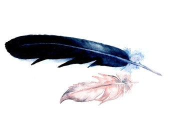 Watercolor Feathers Print 8 x 10, Feather Art, Nature Art, Wall Art, Home decor, Aquarelle Print, Watercolour Feathers