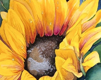 Bright bold sunflower watercolor painting