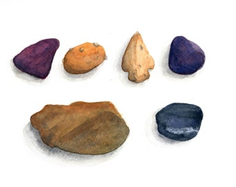 Watercolor Stones and Arrowhead Print 8 x 10