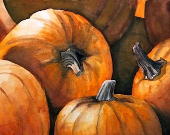Pumpkin Art, Autumn Watercolor Painting Print, Fall Decor