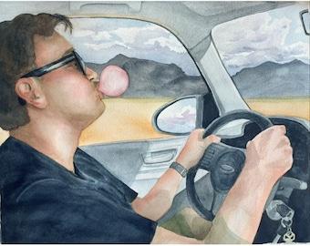 Watercolor Portrait bubblegum blowing on a roadtrip, watercolor landscape