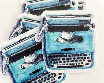 Vintage Blue Typewriter Sticker, vinyl typewriter watercolor decal