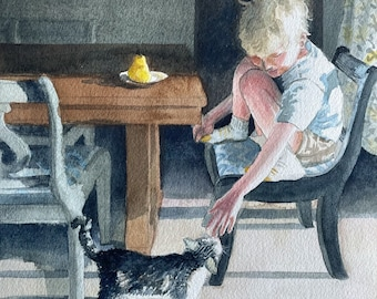 Watercolor portrait, blond boy and his cat, cat painting, morning light