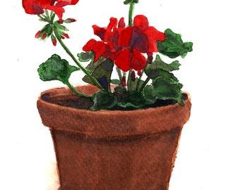 Watercolor Red Peonies Print 5 x 7, Floral Art, Nature Art, Wall Art, Home decor, Aquarelle Print, Watercolour Flowers, Botanical Art