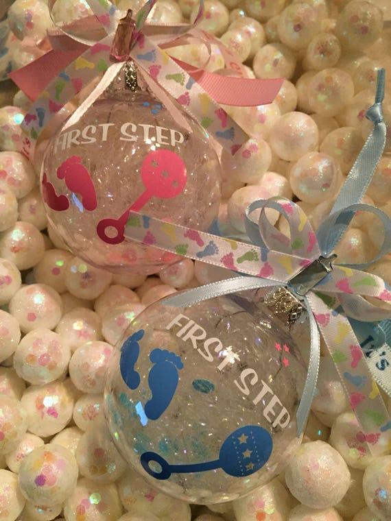 Baby Ornament First Steps Gift Shower Favors Babys 1st Birthday Welcome Home