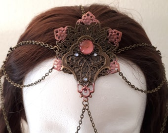 Oriental Headpiece, Filigree Stamping, Dancing Headdress, Tribal Tiara, Handmade, Unique, Diadem with Chains, LARP, Oriental Princess