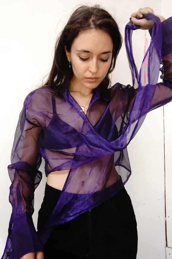 Violet Iridescent Sheer Organza Guess Wrap Top s/m