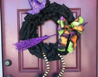 Burlap Witch Wreath, Witch Wreath, Halloween Wreath, Front Door Wreath, Witch, Black Burlap, Front Door Decor, Halloween Witch, Purple