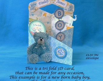 Tri Fold 3D Greetings Card