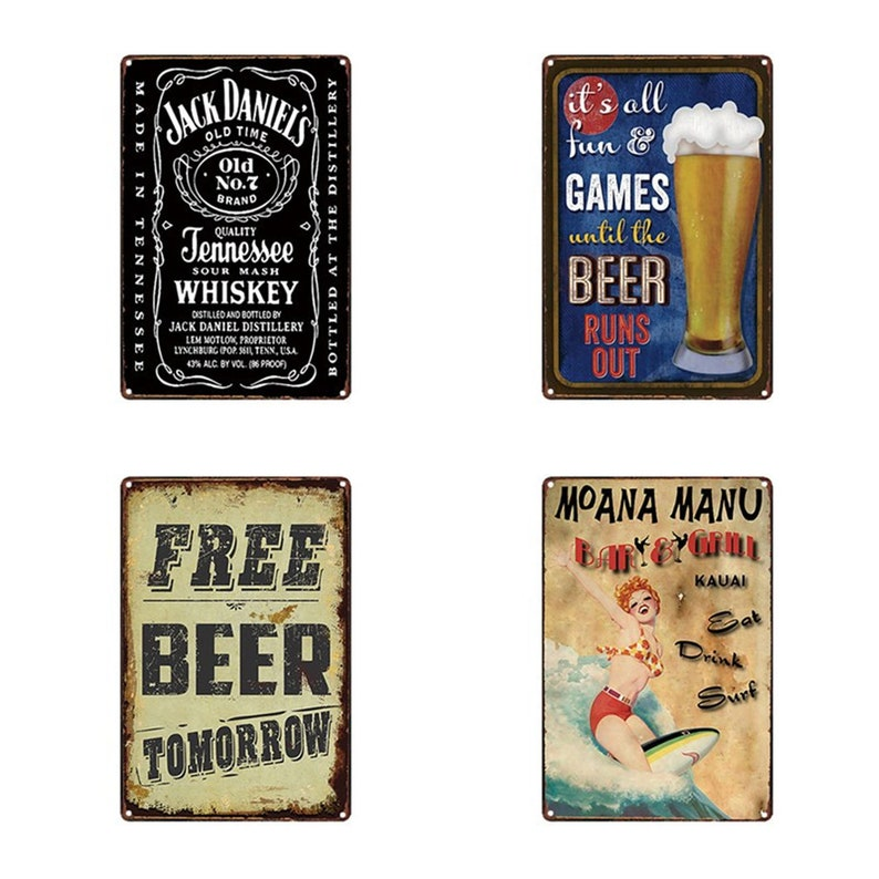 Vintage Retro Art Metal Tin Sign Poster Plaque Cafe  Bar Club Home Wall Decor