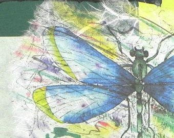 Garden Tour-Dragonfly, collage with handmade papers and acrylic paint
