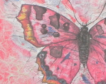 Garden Tour-Butterfly, collage with handmade papers and acrylic paint