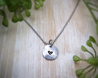 Hammered heart necklace. Daughter necklace. Thank God for you. Gift for girl. Gift for daughter. Hand-stamped necklace.