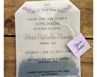 classy tea bag invitations baby shower bridal shower wedding engagement party birthday party etc