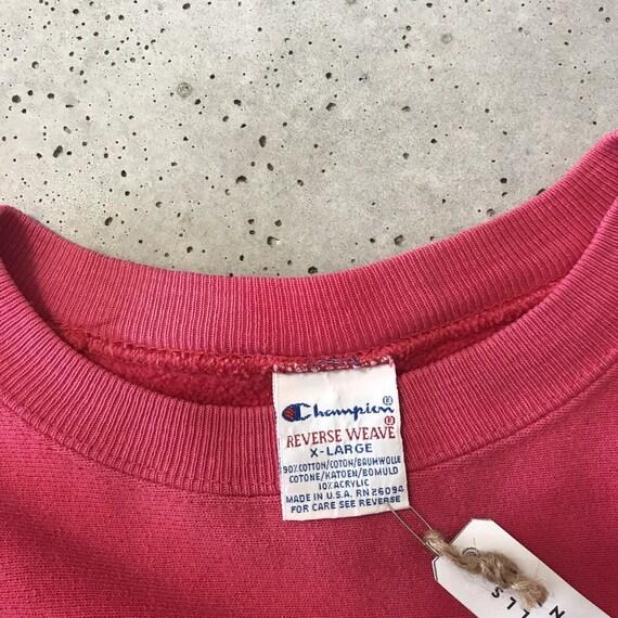 Vintage 80's Champion Reverse Weave Pink Sweatshi… - image 3